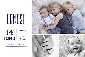 Faire-part de naissance argenté bonne nouvelle (dorure) bleu