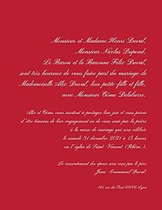 Faire-part de mariage Traditionnel (grand format) rouge