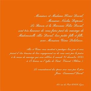 Faire-part de mariage Traditionnel orange
