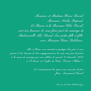 Faire-part de mariage vert traditionnel vert