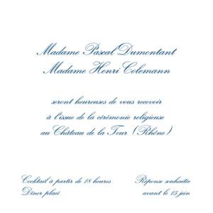 Carton d'invitation mariage Traditionnel (carré) blanc