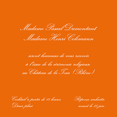 Carton d'invitation mariage Traditionnel (carré) orange finition