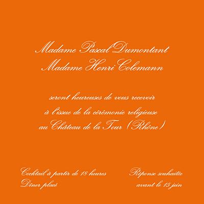 Carton d'invitation mariage Traditionnel (carré) orange finition