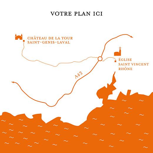 Carton d'invitation mariage Traditionnel (carré) orange