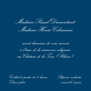 Carton d'invitation mariage Traditionnel (carré) bleu