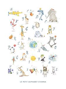 Affiche animaux abécédaire blanc