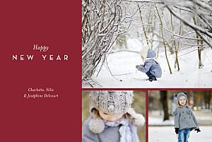 Carte de voeux hiver élégant feuillage (dorure) rouge