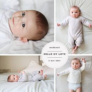 Faire-part de naissance tradition médaillon chic 5 photos blanc