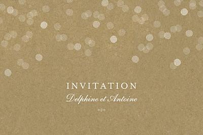 Carton d'invitation mariage Polka kraft finition