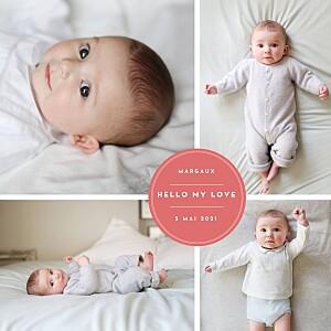 Faire-part de naissance rouge médaillon chic 5 photos rouge