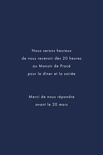 Carton d'invitation mariage Étincelles (dorure) bleu marine - Page 2