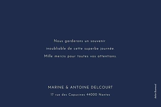 Carte de remerciement mariage Étincelles (dorure) bleu marine - Page 2