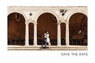 Save the date avec photo étincelles (dorure) bleu marine