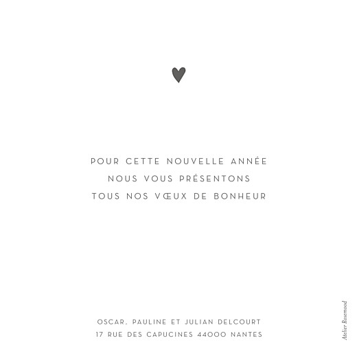 Carte de voeux Élégant cœur (dorure) blanc