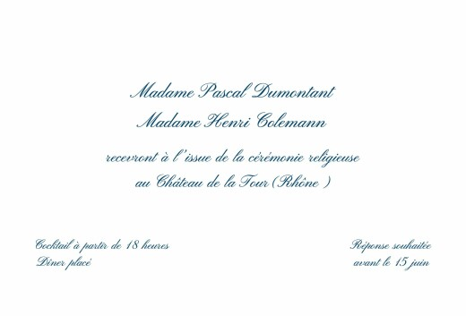 Carton d'invitation mariage Traditionnel blanc - Page 1