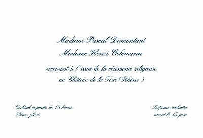 Carton d'invitation mariage Traditionnel blanc finition
