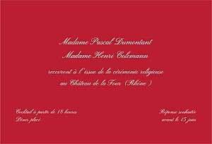 Carton d'invitation mariage Traditionnel rouge