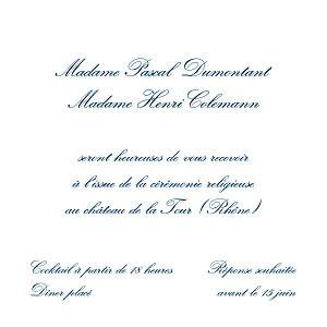 Carton d'invitation mariage traditionnel grand traditionnel blanc