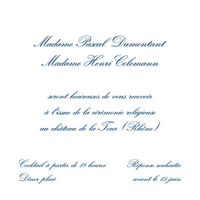 Carton d'invitation mariage Grand traditionnel blanc finition