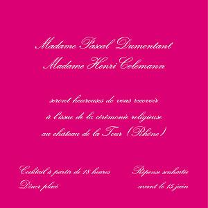 Carton d'invitation mariage Grand traditionnel framboise