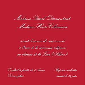 Carton d'invitation mariage Grand traditionnel rouge