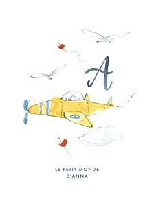 Affiche petit frère ou petite soeur abc… avion bleu