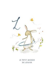Affiche petit frère ou petite soeur abc… lapin bleu