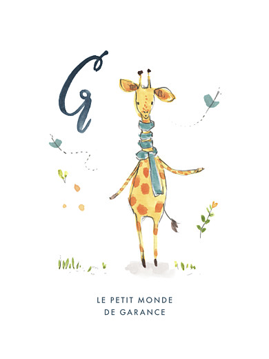 Affichette Abc… girafe bleu