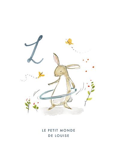 Affichette Abc… lapin bleu