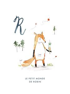 Affichette Abc… renard bleu