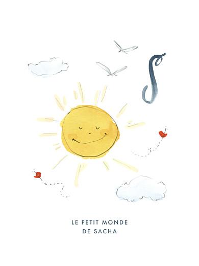 Affichette Abc… soleil bleu