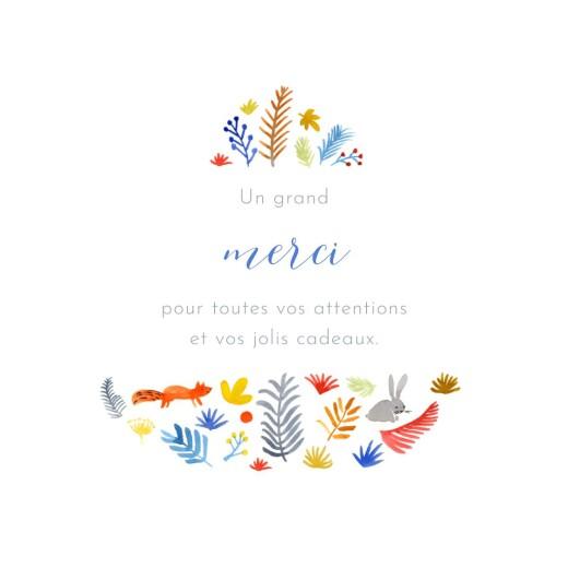 Carte de remerciement Petite balade en forêt blanc