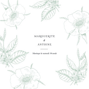 Faire-part de mariage traditionnel gravure simple (4 pages) vert