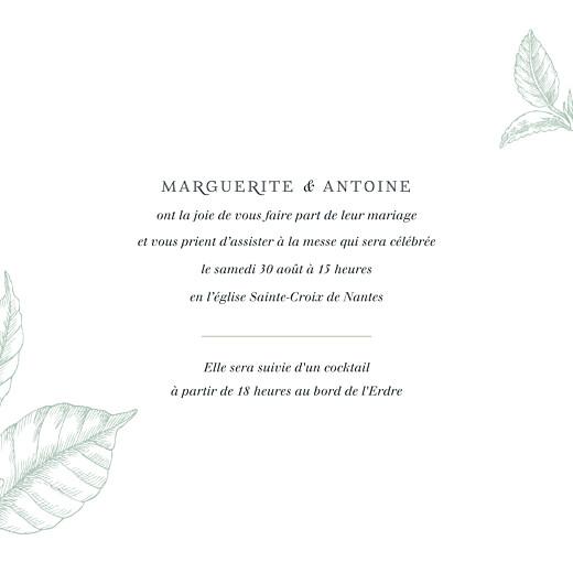Faire-part de mariage Gravure simple (4 pages) vert - Page 3