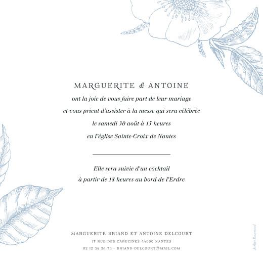 Faire-part de mariage Gravure simple (rv) bleu