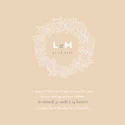 Faire-part de mariage beige gypsophile rose