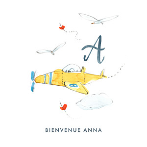 Faire-part de naissance nuage abc... avion blanc
