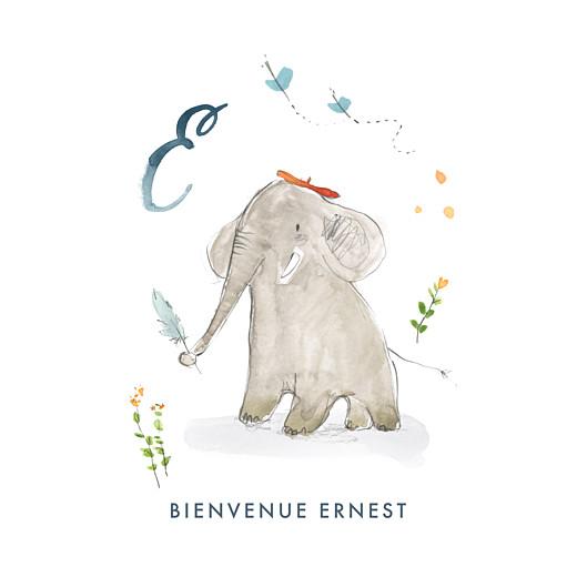 Faire-part de naissance Abc... éléphant blanc