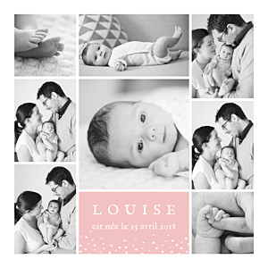 Faire-part de naissance Souvenir étoilé 8 photos rose