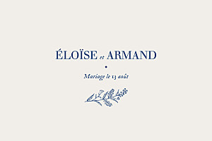 Carton d'invitation mariage classique nature chic bleu