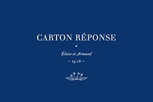 Carton réponse mariage Nature chic bleu