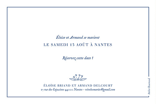 Save the Date Nature chic bleu