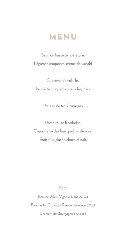 Menu de mariage Gypsophile (4 pages) gris