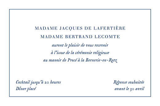 Carton d'invitation mariage Nature chic (dorure) bleu - Page 2
