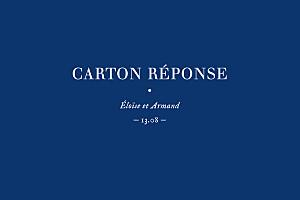 Carton réponse mariage nature chic (dorure) bleu