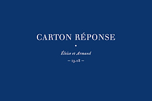 Carton réponse mariage bleu nature chic (dorure) bleu
