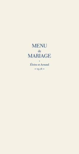 Menu de mariage Nature chic (dorure) bleu