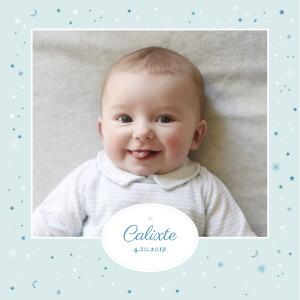 Faire-part de naissance Douceur céleste (4 pages) bleu