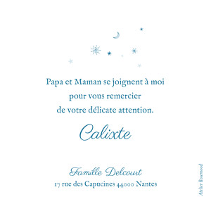 Carte de remerciement Merci douceur céleste bleu