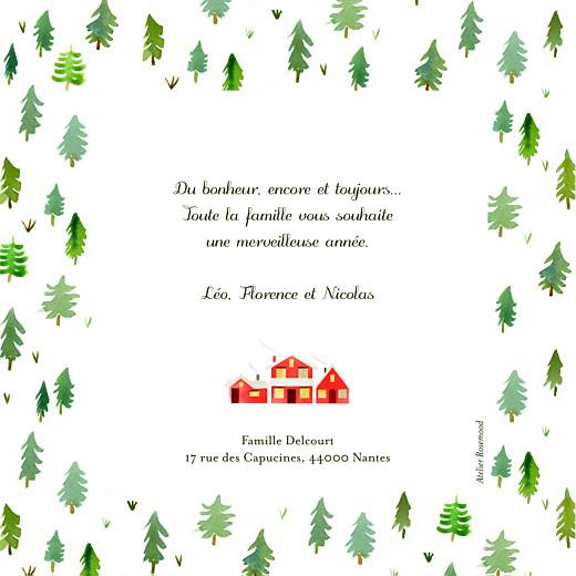Carte de voeux Forêt de sapins vert rouge